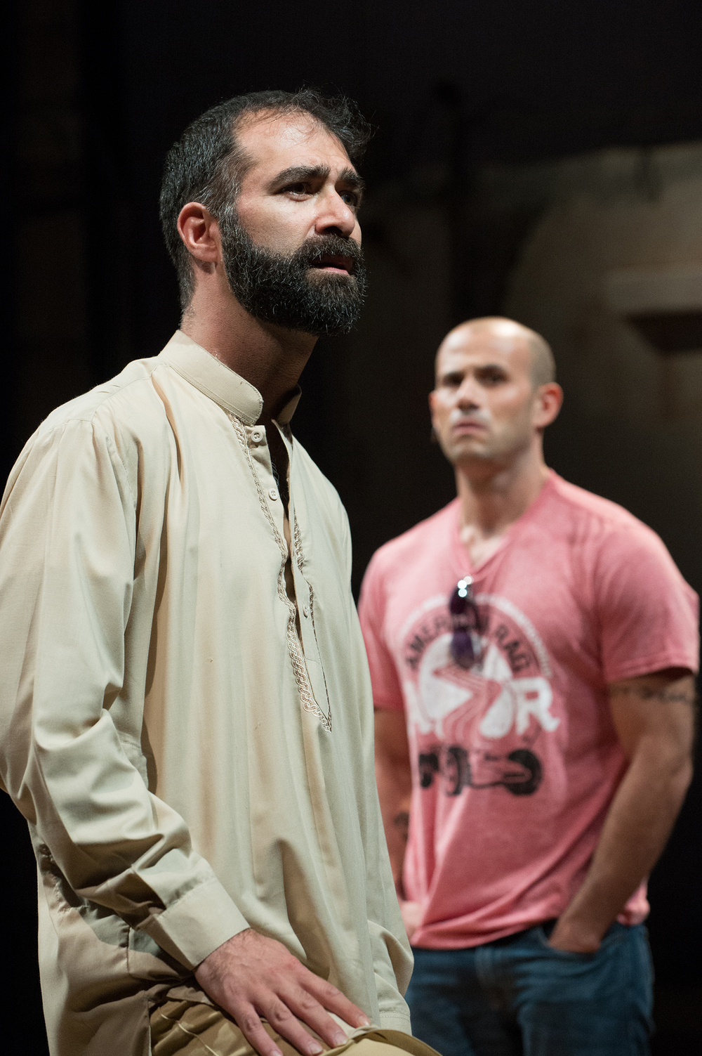 Ali (Barzin Akhavan) and Elliot (Daniel Duque-Estrada) remember life-changing moments. Photo: Jenny Graham, Oregon Shakespeare Festival.