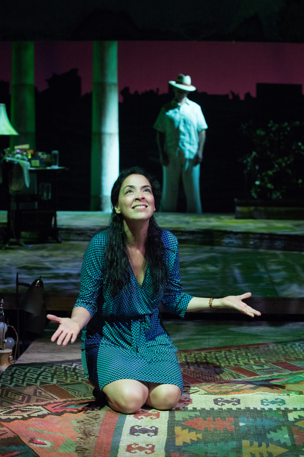 Yaz (Nancy Rodriguez) has many questions for Agustín (Armando Durán). Photo: Jenny Graham, Oregon Shakespeare Festival.