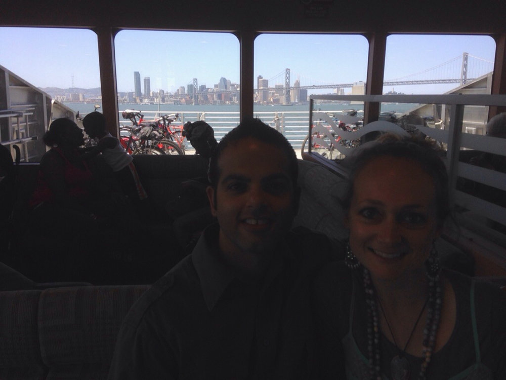 On the ferry with SF in the background!