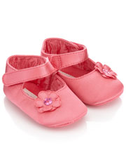 Baby Satin Flower Bootie Was $18.00 Now $5.25