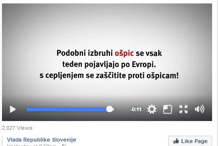 Vir: (Poziv k cepljenju). Facebook, Vlada RS.