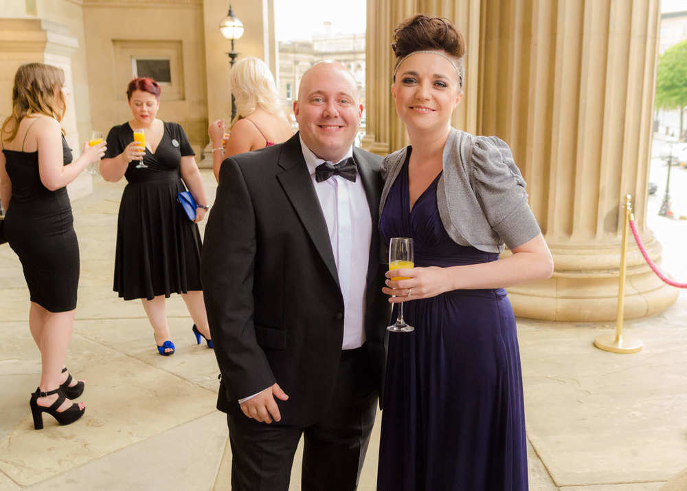 Mark Hendry and Liz at St Georges Hall (Liverpool) before collecting their County Brides Wedding Award.