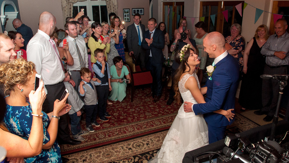Robyn and Alan's first dance at the very homely Mere Brook House. Big smiles all round.