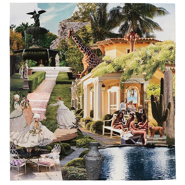 """Party in Patchogue, 2018, Archival Pigment on Matte Paper, 52"""" X 56""""  Featured in South Beach at classic and chic @anglershotel  Miami is all about art this week!  Collaboration with @lanaurso  For sales and info contact Lana@lanaurso.co  #artbasel #miami #southbeach @lanaurso #miamidesigndistrict #kimpton #anglers #gallery #artforsale #artherapy #nostalgia #optimism #surrealism #collage #workonpaper #paperart #mixedmedia #artofinstagram #stevenrudinart"""
