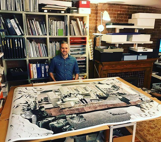 "Bar Mitzvah Noir, 52"" X 76"" presented by @thedirectedartmodern @scopeartshow  OPENING General Admission Friday, March 8th 11AM, 125 W 18th Street, New York City  Link in bio  #armoryweek #scopenewyork #ditectedartmodern #gallery #artherapy #nostalgia #optimism #surrealism #collage #workonpaper #paperart #design #interiordesign #barmitzvah #newyork #stevenrudinart"