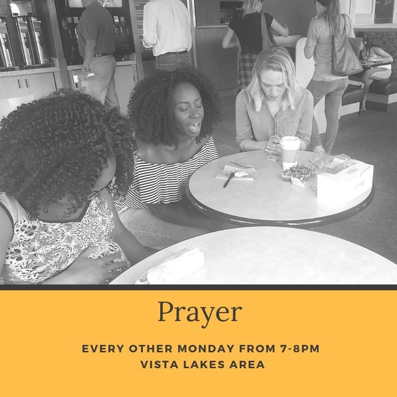 Do you love to pray or want to learn more about prayer? This group is for you. Each meet up, we will read Scripture related to prayer, pray together, and share testimonies.