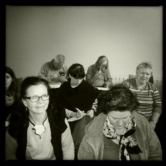 Attendee listen as I explain Hipstmatic at the recent Smartphone Photography Workshop at Holywood Library