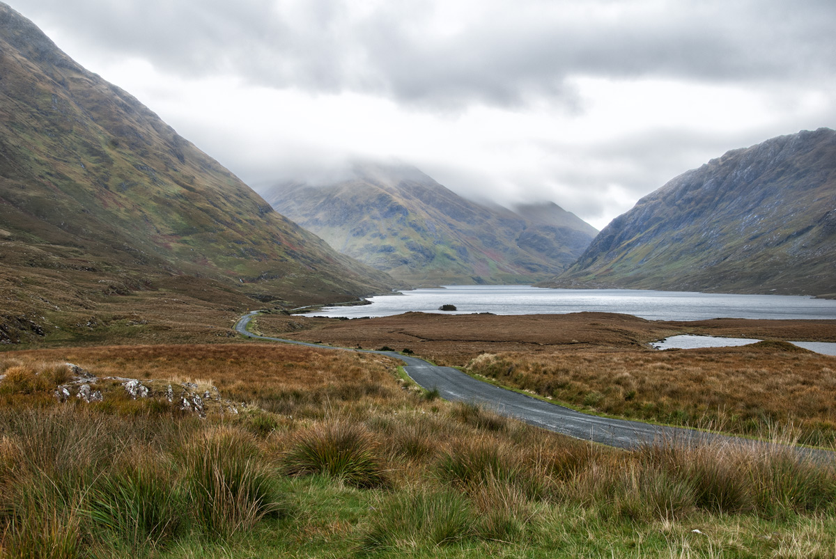 Fine Art Irish Landscapes, A Cloudy Upper Doolough Valley, Co. Mayo, Black & White, Geoff McGrath Photography