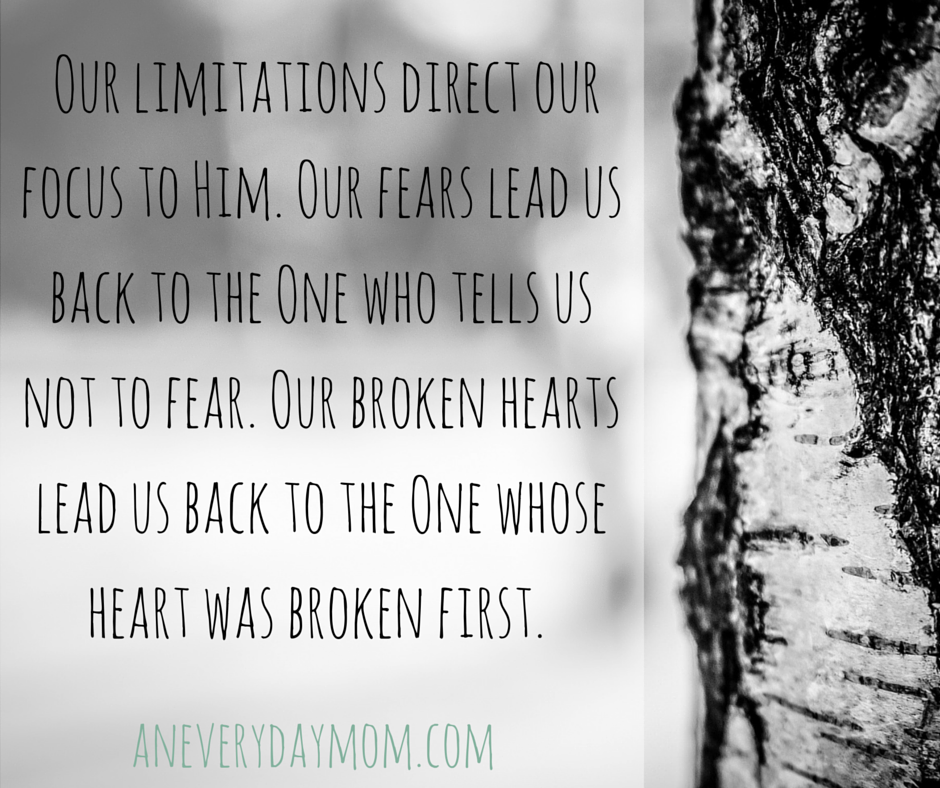 Our limitations direct our focus to Him. Our fears lead us back to the One who tells us not to fear. Our broken hearts lead us back to the One whose heart was broken first.