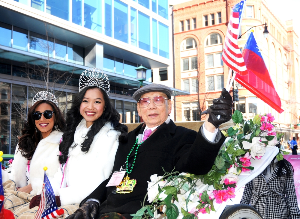 This weekend was a blast (an icy blast - it was freezing)!  Here's Talya Vikram and I riding through DC in the Lunar New Year Parade!.JPG