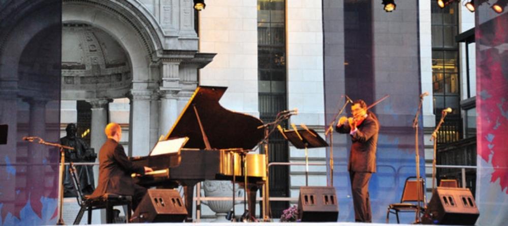 Bryant Park Fall Festival (New York City), with Leonardo Suarez Paz, violin      photo credit: Douglas Townsend