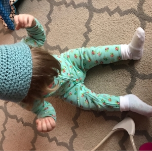 The day she insisted on wearing the baby's beanie and socks OVER her footie pajamas...