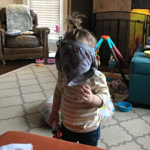 The day she loved wearing brother's underwear from the give away pile on her head...