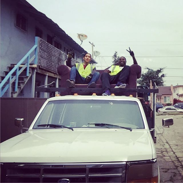 YU Green Crew members Mark and Aaron takin a quick break before getting back to beautifying East Oakland.  #yugreen #landscapemaintenance #hauling #training #oakland #bayarea #smallbusiness #bigdreams #breaktime