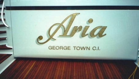 Aria super yacht, sign writing in 23 Kt gold.
