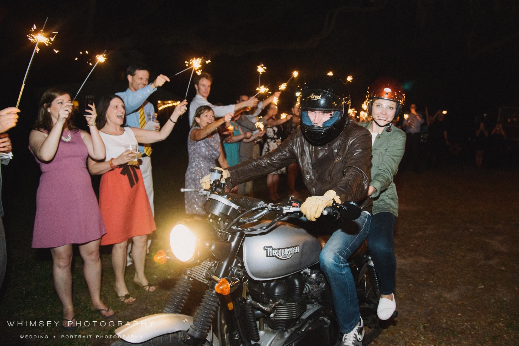 motorcycle wedding exit