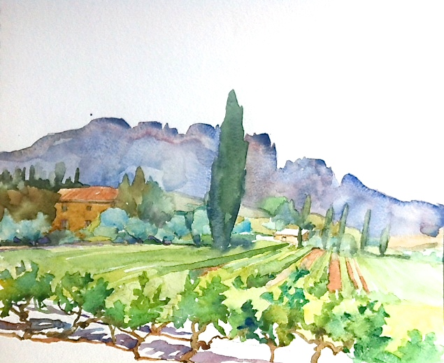 Vineyards, and Dentelles de Montmirail, Provence