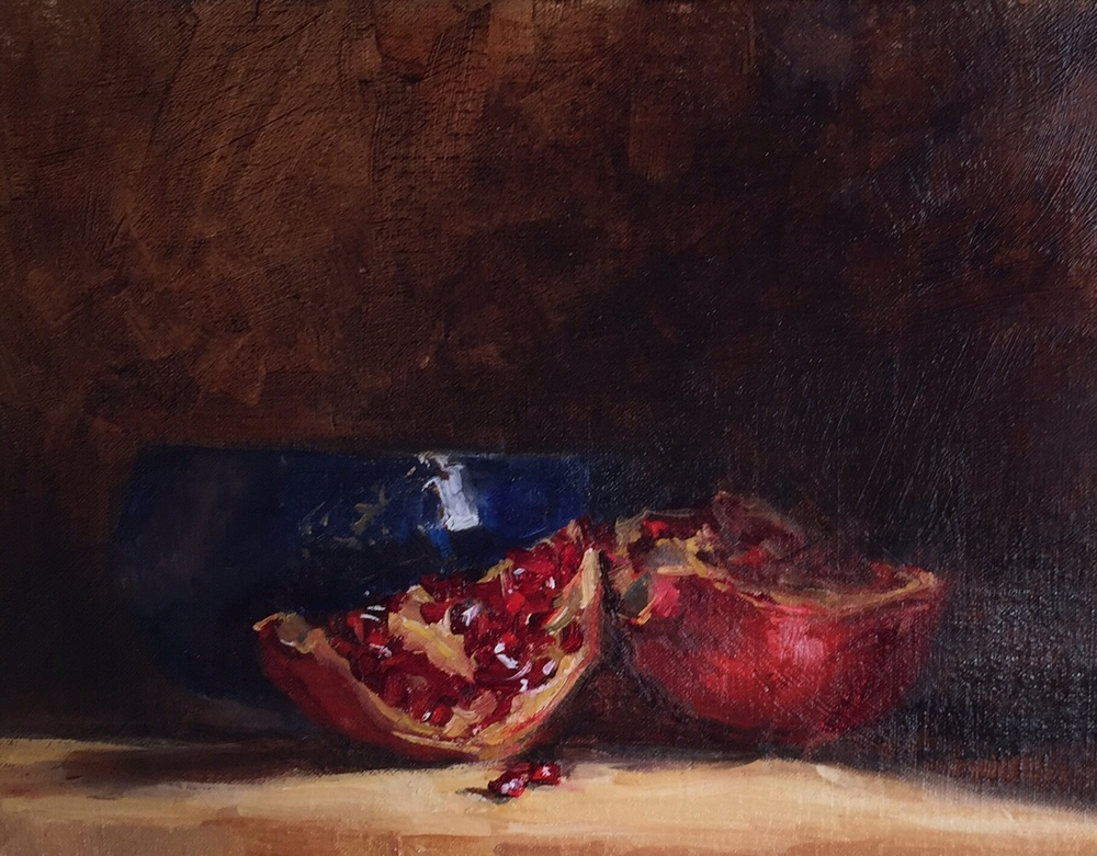 Blue Pottery Bowl and Pomegranate