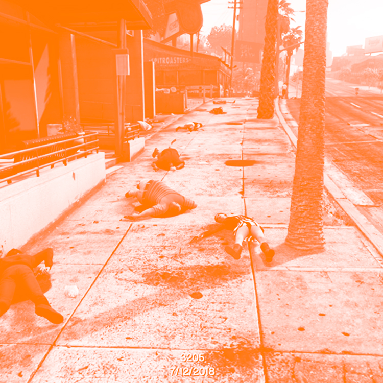 ⫸ ELEGY: GTA USA GUN HOMICIDES - A grim & sober modification of Grand Theft Auto V that begins at midnight in Los Santos. Every minute, bodies begin to fall. One NPC dies for every real person murdered in America since January 1, 2018.CREATED BY: Joseph DeLappe