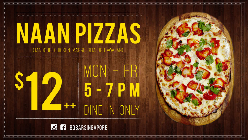 All naan pizzas $12++
