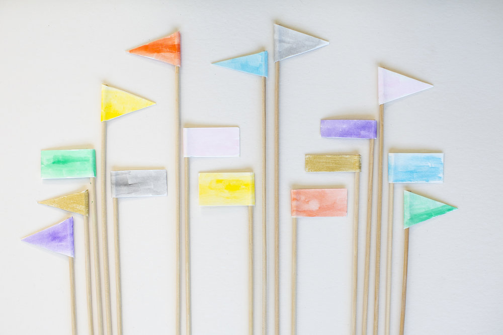 Watercolor Flags  for  Charlotte Lane |   Heidi Geldhauser