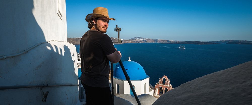 Working on a project between the alleyways of Oia in Santorini, Greece | 2015