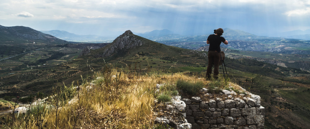 Working on a project from the top of the ruins of Acrocorith in Corinth, Greece | 2013