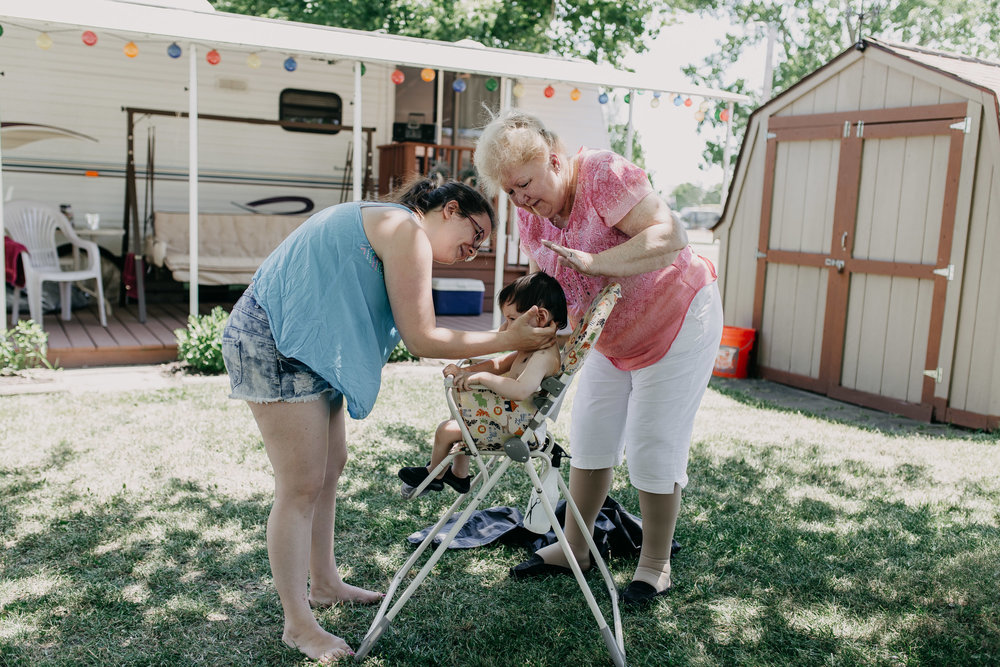 grandma-cuts-little-nephew-hair-at-Greenwood Acres Campground-Jackson, MI