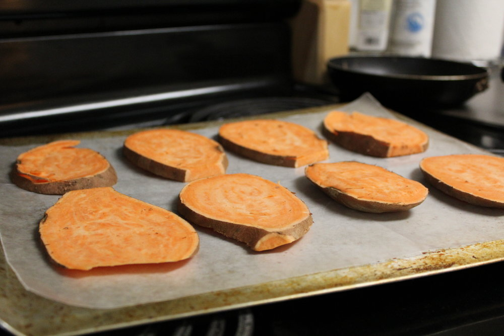 Raw Sweet Potatoes, about to go in the oven!