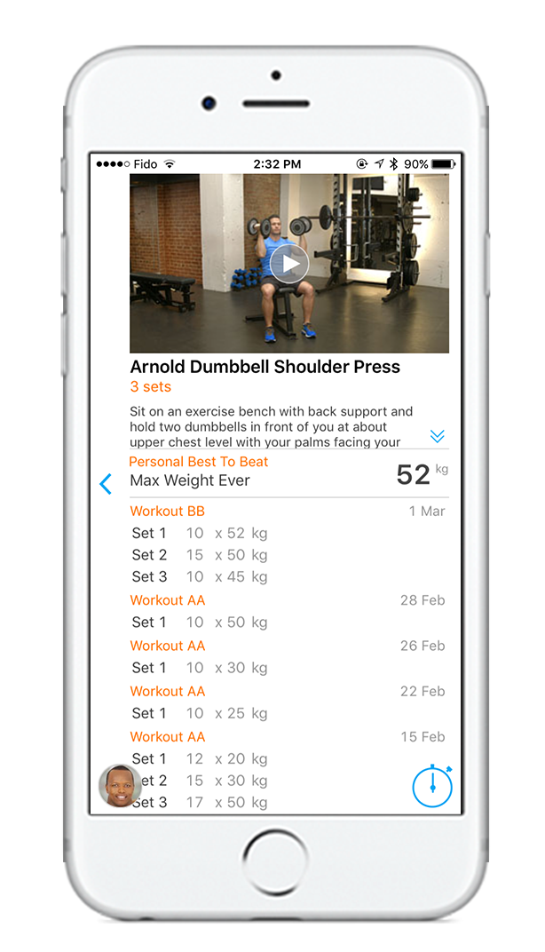 Exercise history makes it easy to keep track of progress.