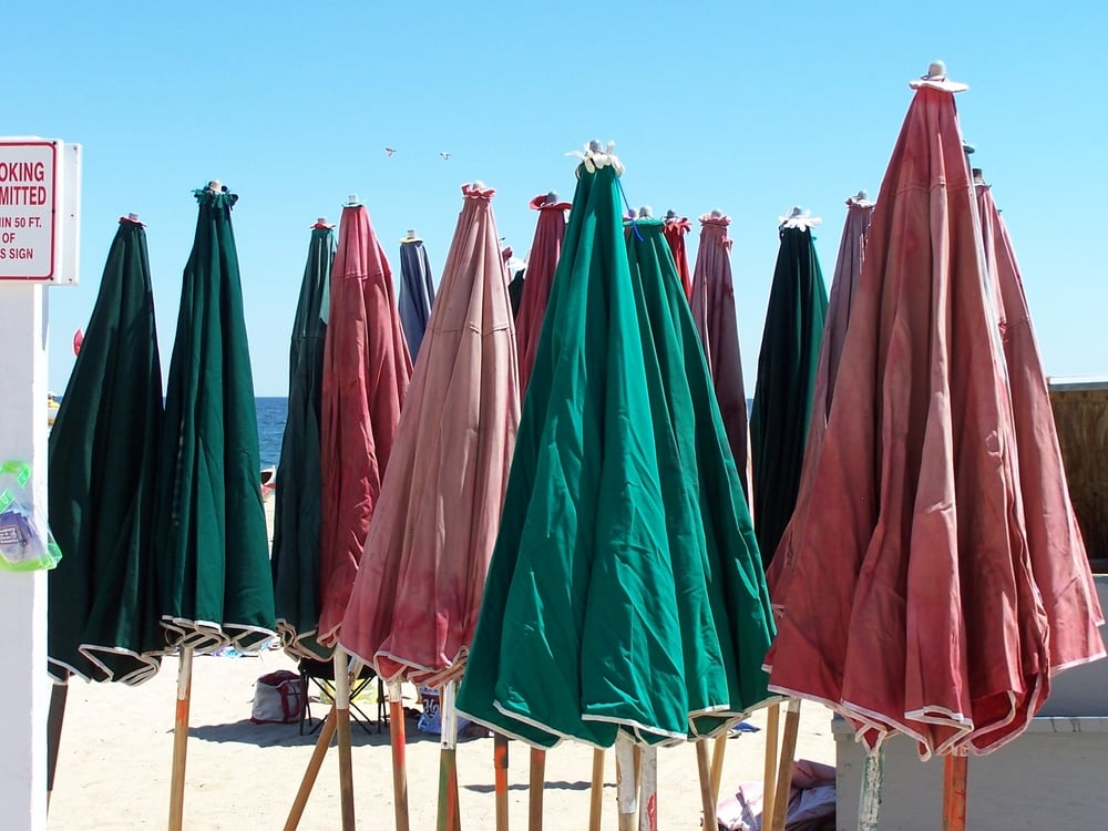 Umbrellas and beach chairs are  available to rent on the beach
