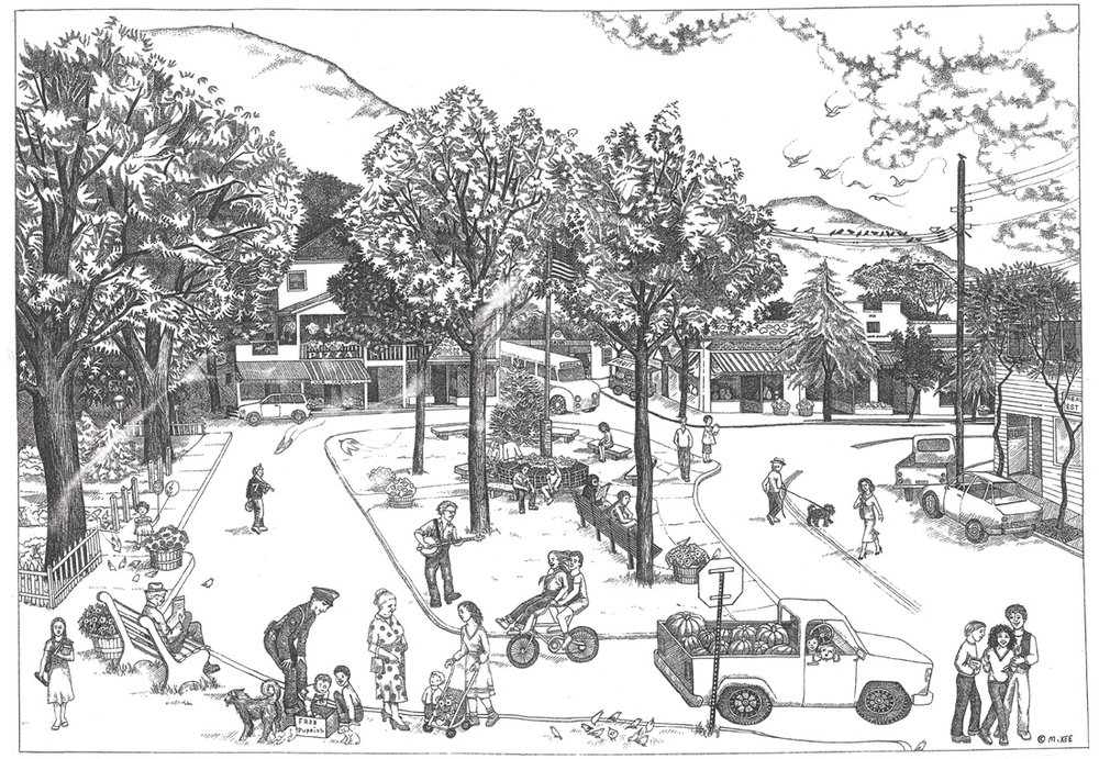 The Village Green, Woodstock, New York.   Please visit   mightyxee.com  for much more about Mighty's writing and illustrations for children