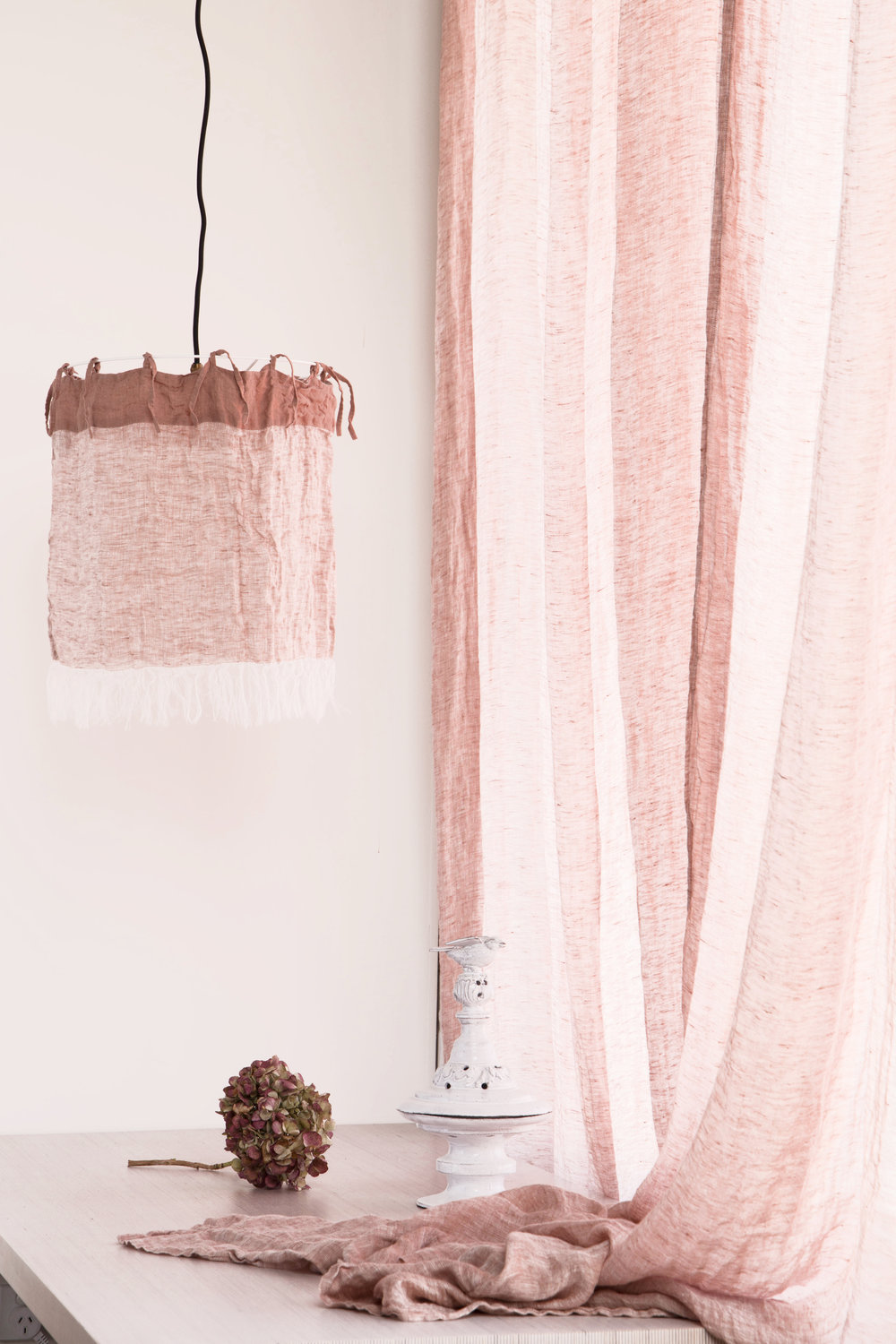 Linen lamp shades and curtains, Colour Rosa.