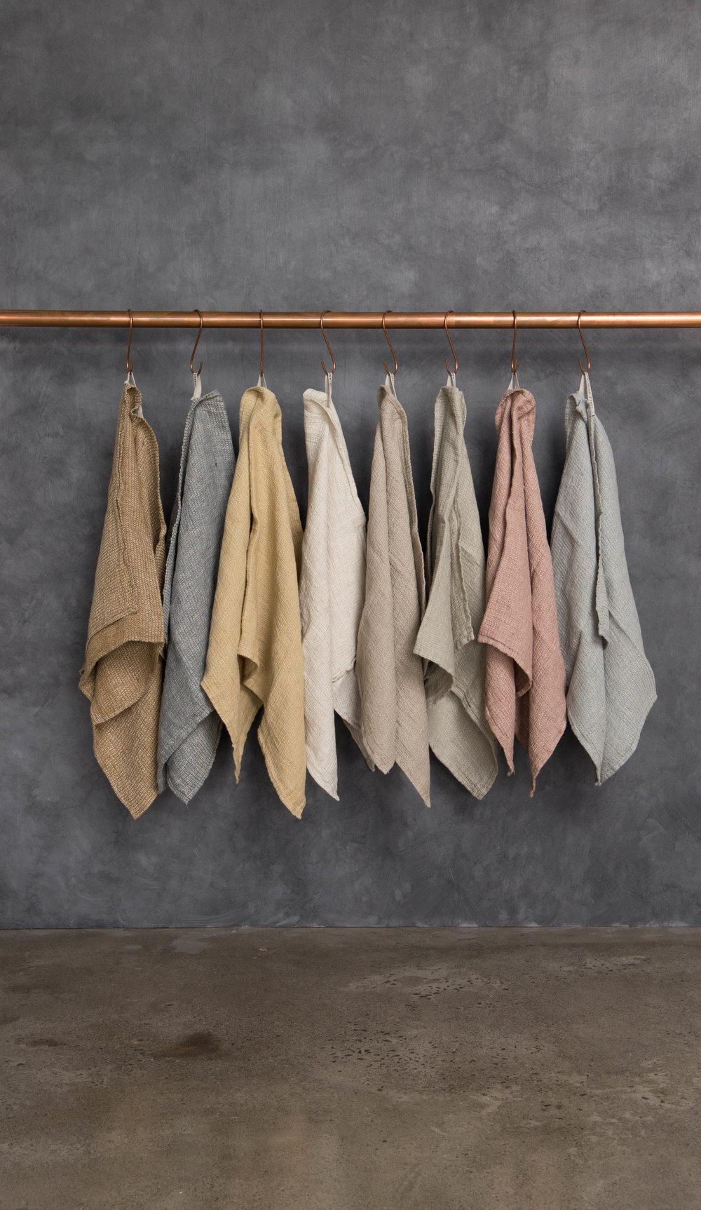 Basix Tutto linen waffle tea towels.