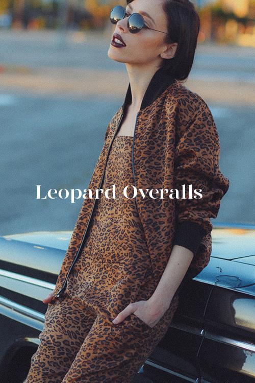 Leopard Overalls - 100% hand-dyed Ziran silk. Handmade in Los Angeles.