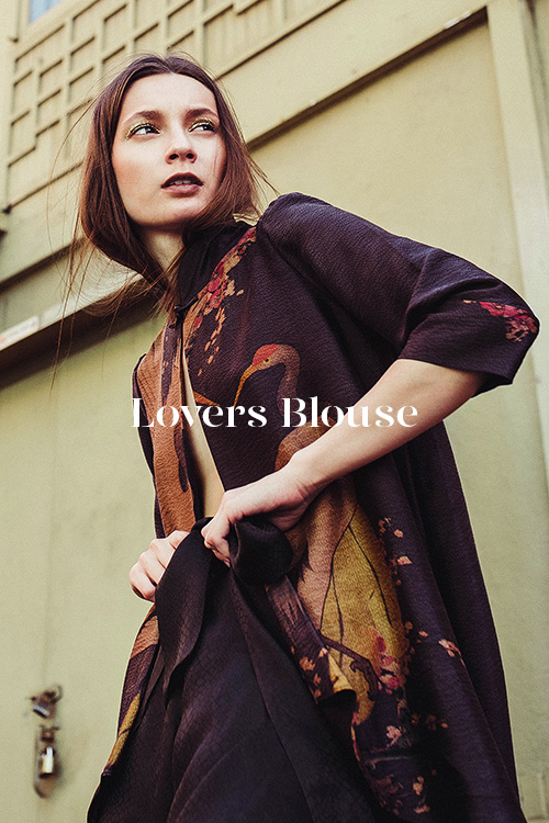 Lovers Blouse - 100% hand-dyed Ziran silk. Handmade in Los Angeles.