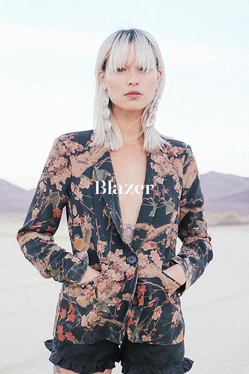 Cherry Blossom Blazer - 100% hand-dyed Ziran silk. Handmade in Los Angeles.