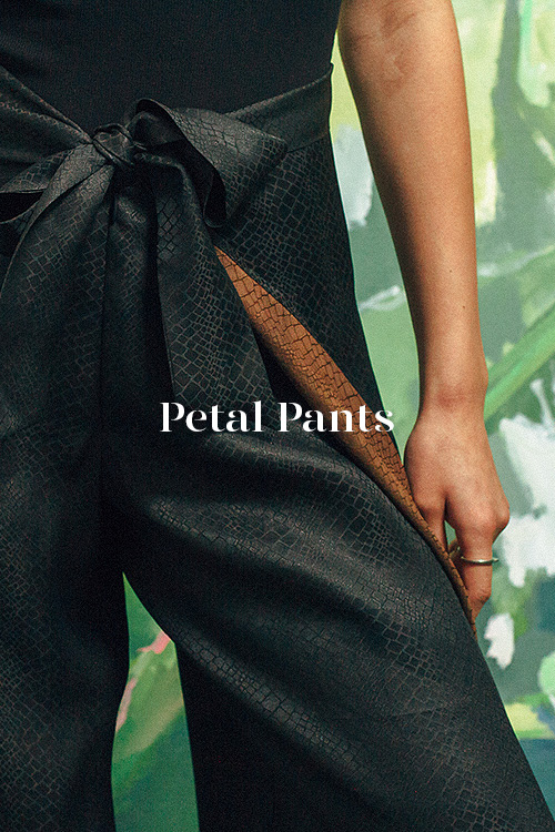 Cobra Petal Pants - 100% hand-dyed Ziran silk. Handmade in Los Angeles.