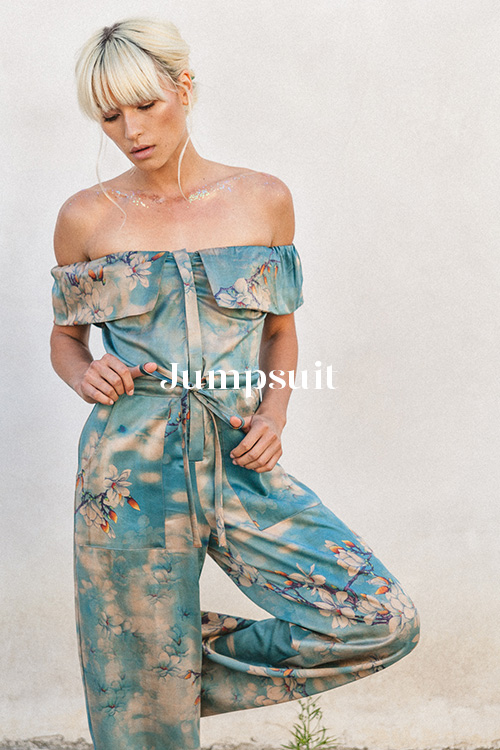 Clouds Jumpsuit - 100% hand-dyed Ziran silk. Handmade in Los Angeles.