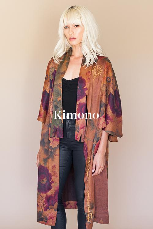 Peony Kimono - 100% hand-dyed Ziran silk. Handmade in Los Angeles.