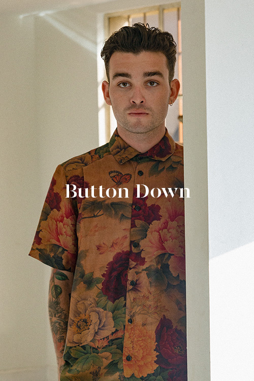 Peony Button Down - 100% hand-dyed Ziran silk. Handmade in Los Angeles.
