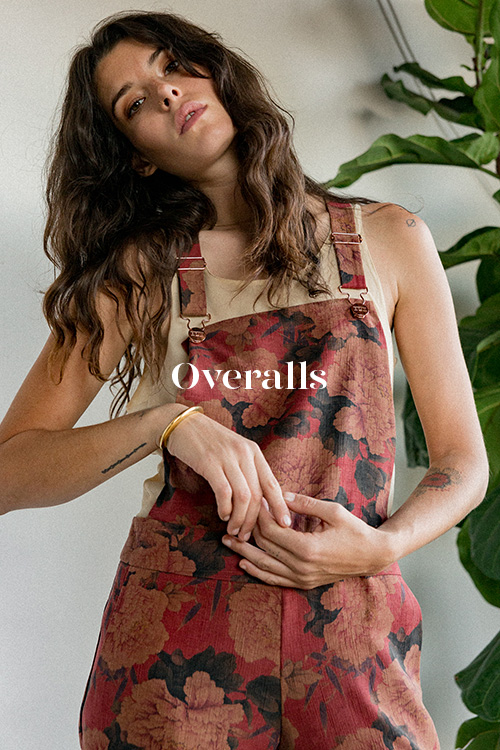 Red Floral Overalls - 100% hand-dyed Ziran silk. Handmade in Los Angeles.
