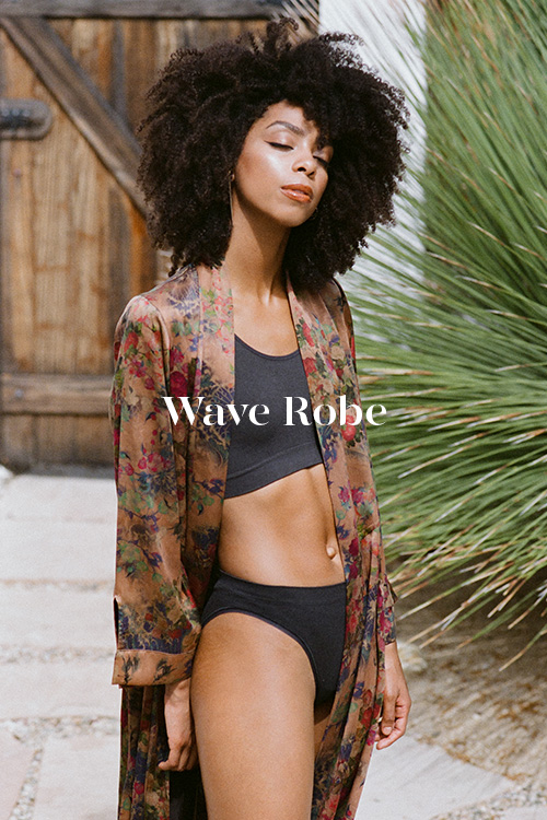 Wave Robe - 100% hand-dyed Ziran silk. Handmade in Los Angeles.