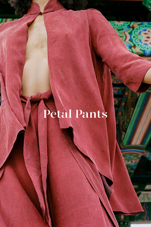 Red Lady Petal Pants - 100% hand-dyed Ziran silk. Handmade in Los Angeles.