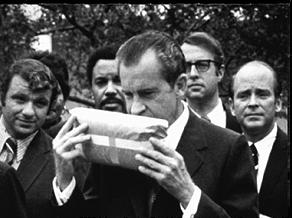 President Nixon sniffs marijuana, 1970
