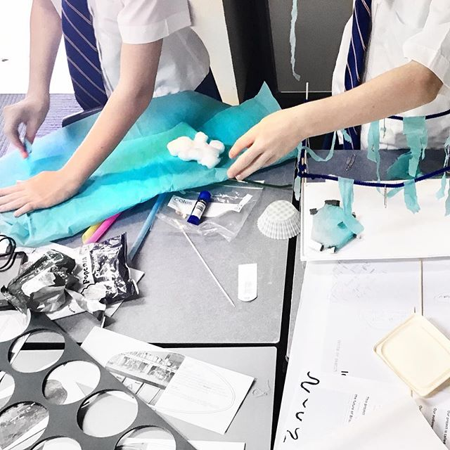 Student's building models addressing Brisbane's future water security. Future BNE challenge at Aspley State High School via livestream! 💧