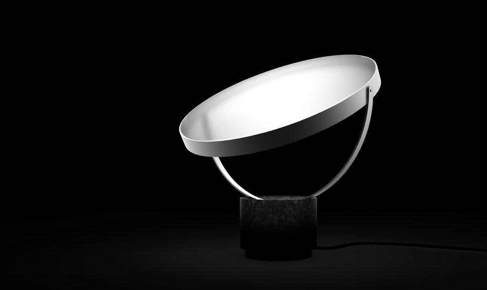 "Table Lamp called ""MOON TRAVELER"" // Greenlandic QAAMMAMMI ANGALANEQ // Danish: MÅNE VANDRER."