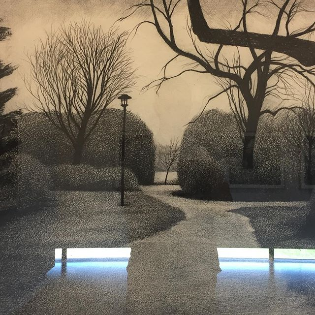 Rein Dool - 'Stadspark' - 'Citypark' - photo taken with museum in mirror reflecting #art #drawing #park