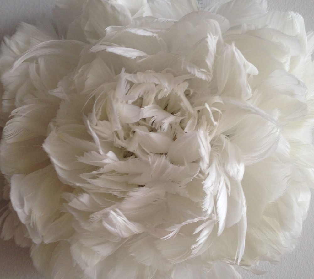 Duck Peony , duck feathers, hardware cloth, 2015