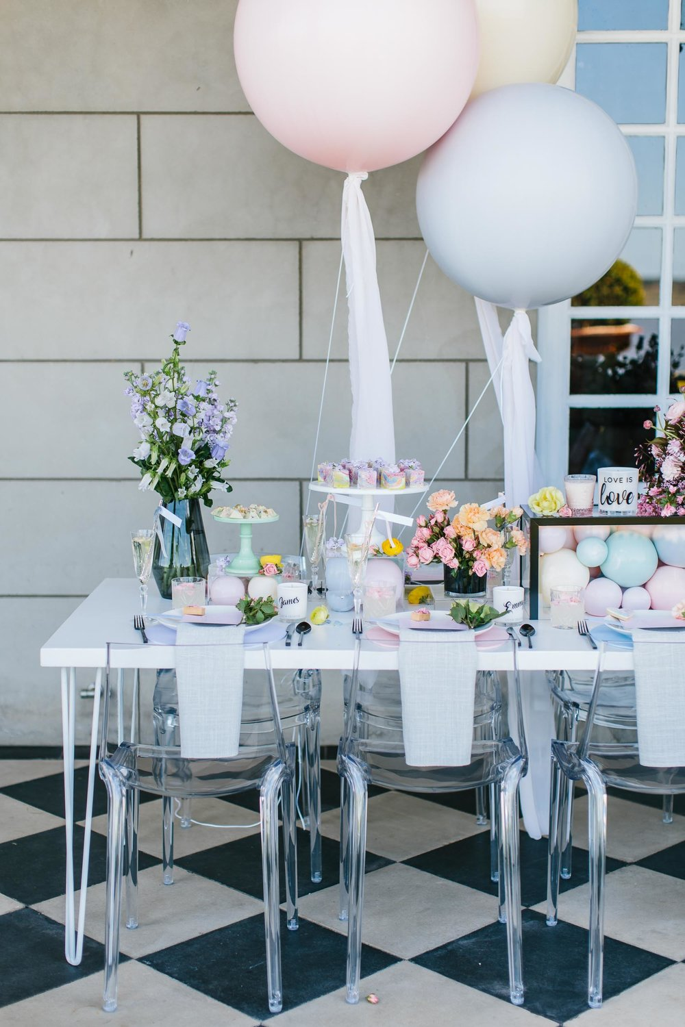 Pastel Rainbow Table Setting with Balloons | Wedding Photography by Kas Richards